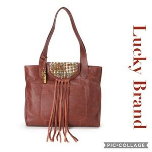 Lucky Brand Metal Works Fringed Brandy Tote